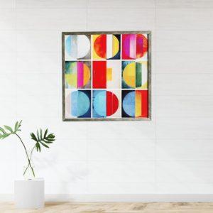 """Quadro Geométrico Super Luxo Hot Colors """"A"""" para Sala Quarto Hotéis Escritório, 50x50cm C/ Vidro 2mm e Moldura Especial na Cor Prata Envelhecida"""