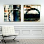 """Par de Quadros Abstrato Super Luxo Círculo """"A e B"""" para Sala Quarto Hotéis Escritório, 60x60cm C/ Vidro 3mm e Moldura Especial na cor Dourado"""