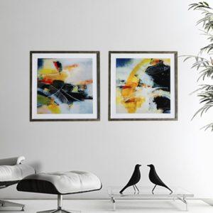"""Kit de Quadro Abstrato Super Luxo """"A e B"""" para Sala Quarto Hotéis Escritório, 50x50cm C/ Vidro e Moldura Especial na Cor Prata Envelhecida"""