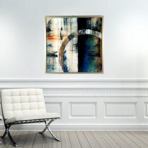 """Quadro Abstrato Super Luxo Círculo """"A"""" para Sala Quarto Hotéis Escritório, 60x60cm C/ Vidro 3mm e Moldura Especial na cor Dourado"""