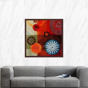 """Quadro Abstrato Mandalas  """"B"""" para Sala Quarto Hotéis Escritório, 60x60cm C/ Vidro 3mm e Moldura Chanfrada na cor Tabaco"""