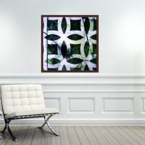 """Quadro Abstrato Green Patterns """"A"""" para Sala Quarto Hotéis Escritório, 60x60cm C/ Vidro 3mm e Moldura Chanfrada na cor Tabaco"""