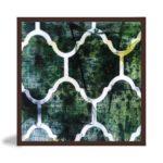 """Quadro Abstrato Green Patterns """"B"""" para Sala Quarto Hotéis Escritório, 60x60cm C/ Vidro 3mm e Moldura Chanfrada na cor Tabaco"""