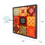 """Quadro Abstrato Mandalas em Tons de Laranja """"B"""" para Sala Quarto Hotéis Escritório, 60x60cm C/ Vidro 3mm e Moldura na cor Tabaco"""