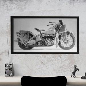 Quadro Harley Davidson para Sala, Quarto, Escritório , Corredores,52x37cm C/ Vidro 2mm e Moldura em Madeira na cor preta