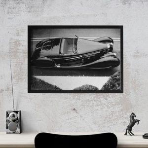 Quadro Carro Clássico para Sala, Quarto, Escritório , Corredores, 46x33cm C/ Vidro 2mm e Moldura em Madeira na cor preta