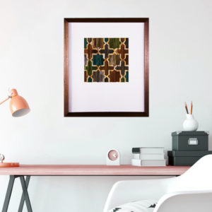 Quadro Abstrato Cruz p/ Sala Quarto Hall Escritório, 57x66cm c/ Vidro 2mm e Moldura Chanfrada em Madeira na Cor Tabaco