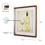 Quadro Abstrato Taça e Vinho p/ Cozinha Bares e Restaurantes, 57x66cm c/ Vidro 2mm e Moldura Chanfrada em Madeira na Cor Natural