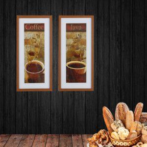 Par de Quadros Coffee e Java para Cozinha, Lanchonetes e padarias, 33x63cm C/ Vidro 2mm e Moldura em Madeira