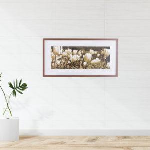 Quadro Jardim de Flores Sépia p/ Sala Quarto Hall Escritório, 63x32cm c/ Vidro 2mm e Moldura em Madeira na Cor Tabaco