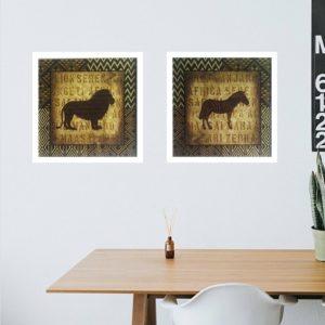 """Par de Quadros African Animal """"A"""", 33x33cm C/ Vidro 2mm e Moldura em Madeira na cor Branca"""