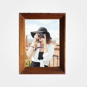 Porta Retrato 18x25m C/ Vidro 2mm e Moldura Chanfrada na cor Tabaco