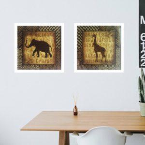 """Par de Quadros African Animal """"B"""", 33x33cm C/ Vidro 2mm e Moldura em Madeira na cor Branca"""