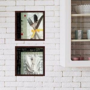 Par de Quadros Requinte para Cozinha, Lanchonetes, Restaurantes, 33x33cm C/ Vidro 2mm e Moldura em Madeira na cor Tabaco