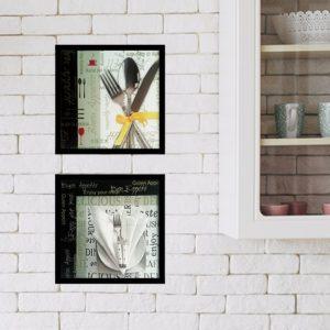 Par de Quadros Requinte para Cozinha, Lanchonetes, Restaurantes, 33x33cm C/ Vidro 2mm e Moldura em Madeira na cor Preto