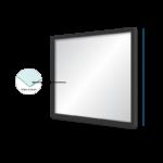 Espelho 35x35cm C/ Vidro 2,5mm e Moldura na Cor Preta