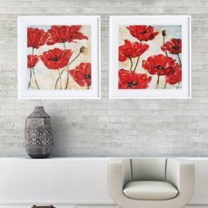 """Quadro Red Poppy """"A & B"""" para Sala Quarto Hotéis Escritório, 60x60cm C/ Vidro 3mm e Moldura Reta na cor Branca"""