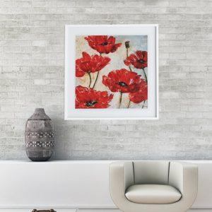 """Quadro Red Poppy """"A"""" para Sala Quarto Hotéis Escritório, 60x60cm C/ Vidro 3mm e Moldura Reta na cor Branca"""