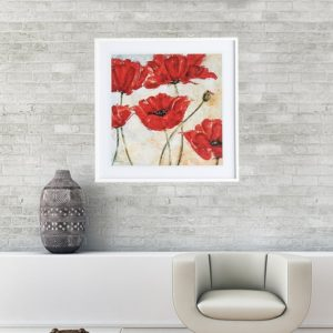 """Quadro Red Poppy """"B"""" para Sala Quarto Hotéis Escritório, 60x60cm C/ Vidro 3mm e Moldura Reta na cor Branca"""