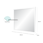 Espelho 25x25cm C/ Vidro 2,5mm e Moldura na Cor Branca