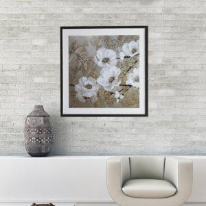 """Quadro Super Luxo Papoulas Brancas """"A"""" para Sala Quarto Hotéis Escritório, 60x60cm C/ Vidro 3mm e Moldura Reta na cor Dourado Envelhecido"""