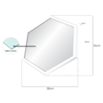 Espelho Hexagonal 35x30cm C/ Vidro 2,5mm e Moldura Branca