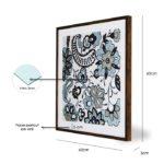"""Quadro Blue Flowers Design """"A"""" para Sala Quarto Hotéis Escritório, 60x60cm C/ Vidro 3mm e Moldura Reta na cor Tabaco"""