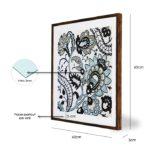 """Quadro Blue Flowers Design """"B"""" para Sala Quarto Hotéis Escritório, 60x60cm C/ Vidro 3mm e Moldura Reta na cor Tabaco"""