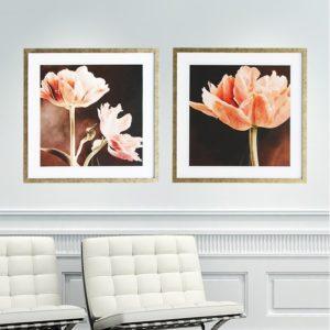"""Quadro Super Luxo Tulipa Laranja """"A & B"""" para Sala Quarto Hotéis Escritório, 60x60cm C/ Vidro 2mm e Moldura na cor Dourado"""