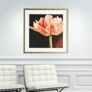 """Quadro Super Luxo Tulipa Laranja """"A"""" para Sala Quarto Hotéis Escritório, 60x60cm C/ Vidro 2mm e Moldura na cor Dourado"""