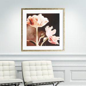 """Quadro Super Luxo Tulipa Laranja """"B"""" para Sala Quarto Hotéis Escritório, 60x60cm C/ Vidro 2mm e Moldura na cor Dourado"""