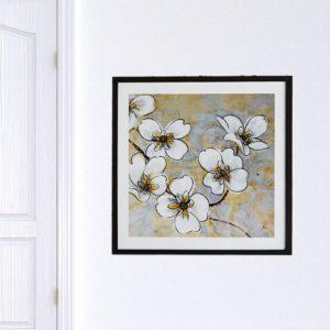 """Quadro Orquídea Branca """"A"""" para Sala Quarto Hotéis Escritório, 50x50cm C/ Vidro 2mm e Moldura na cor Preta"""