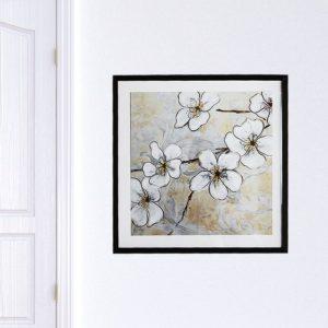 """Quadro Orquídea Branca """"B"""" para Sala Quarto Hotéis Escritório, 50x50cm C/ Vidro 2mm e Moldura na cor Preta"""