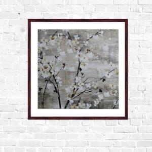 """Quadro Cerejeira Branca """"A"""" para Sala Quarto Hotéis Escritório, 50x50cm C/ Vidro 2mm e Moldura na cor Tabaco"""
