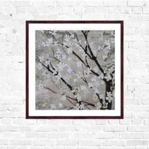 """Quadro Cerejeira Branca """"B"""" para Sala Quarto Hotéis Escritório, 50x50cm C/ Vidro 2mm e Moldura na cor Tabaco"""