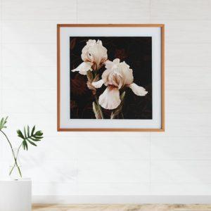 """Quadro Tulipa Salmão """"C"""" para Sala Quarto Hotéis Escritório, 60x60cm C/ Vidro 2mm e Moldura na cor Palha"""