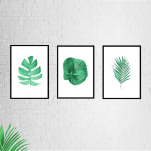 """Conjunto de Quadros Botânicos  """"ABC 1"""" para Sala Quarto Hall Escritório, 35x50cm C/ Vidro 2mm e Moldura na cor Preta"""
