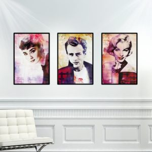 Trio de Quadros Hollywood para Sala Quarto Hall Escritório, 35x50cm C/ Vidro 2mm e Moldura na cor Preta