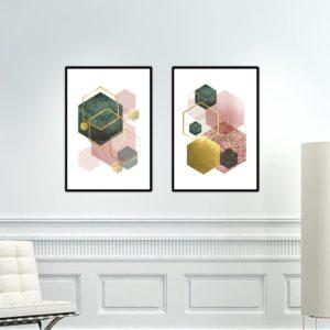 Par de Quadros Geométricos Escandinavos para Sala Quarto Hall Escritório, 35x50cm C/ Vidro 2mm e Moldura na cor Preta
