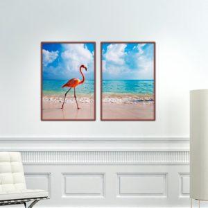 Par de Quadros Flamingos para Sala Quarto Hall Escritório, 35x50cm C/ Vidro 2mm e Moldura na cor Tabaco