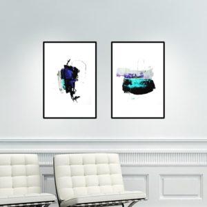Par de Quadros Abstratos para Sala Quarto Hall Escritório, 35x50cm C/ Vidro 2mm e Moldura na cor Preta