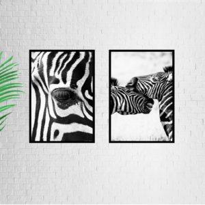 """Quadro Animal Zebras """"A & B"""" para Sala Quarto Hall Escritório, 35x50cm C/ Vidro 2mm e Moldura na cor Preta"""