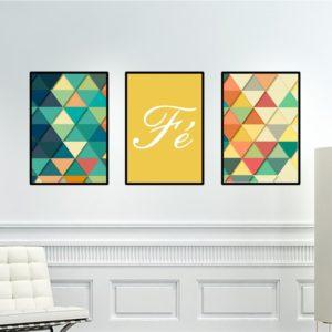 Trio de Quadros Geométricos Fé para Sala Quarto Hall Escritório, 35x50cm C/ Vidro 2mm e Moldura na cor Preta