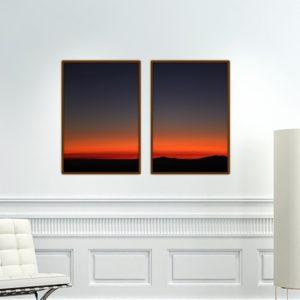 Par de Quadros Por do Sol para Sala Quarto Hall Escritório, 35x50cm C/ Vidro 2mm e Moldura na cor Tabaco