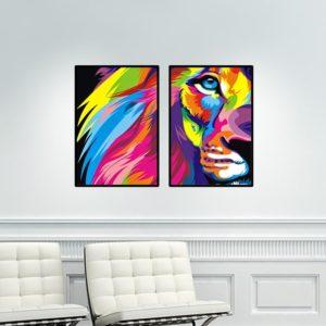 Par de Quadros Lion Colors para Sala Quarto Hall Escritório, 35x50cm C/ Vidro 2mm e Moldura na cor Preta
