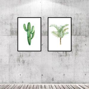 Par de Quadros Botânicos para Sala Quarto Hall Escritório, 35x50cm C/ Vidro 2mm e Moldura na cor Preta