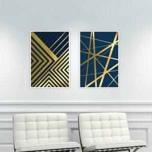 Par de Quadros Geométricos para Sala Quarto Hall Escritório, 35x50cm C/ Vidro 2mm e Moldura na cor Branca