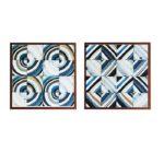 """Par de Quadros Geométrico Super Luxo """"Quadrado & Circular"""" para Sala Quarto Hotéis Escritório, 60x60cm C/ Vidro 3mm e Moldura Especial na Cor Cobre"""