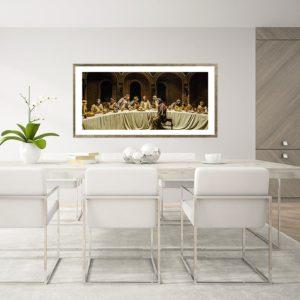 Quadro Santa Ceia Super Luxo para Sala de jantar 100x50cm C/ Vidro 3mm e Moldura Especial na Cor Dourado Envelhecido