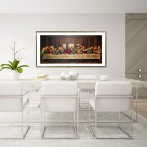 Quadro A Última Santa Ceia Super Luxo para Sala de jantar, 100x50cm C/ Vidro 3mm e Moldura Especial na Cor Dourado Envelhecido